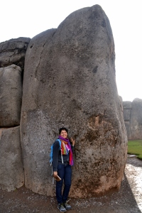 Standing in front of the largest stone!