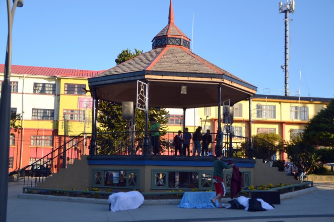 The main plaza in Ancud.