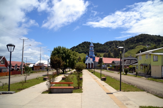 The main plaza in Tenaún. You can see the church in the background.