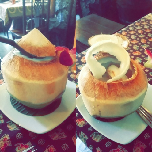 I ordered coconut water at Ban Chiang and it came in an actual coconut! Afterwards I asked the waiter if I could have the coconut meat inside and he carved it for me <3